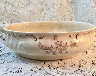 Dresden Vitreous Porcelain Oval Bowl With Handles - Cream Pink Roses Gold - Vintage