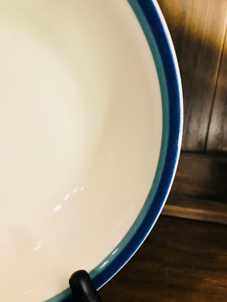 Pfaltzgraff Round Vegetable Bowl In Northwinds Blue And Green Bands Stoneware
