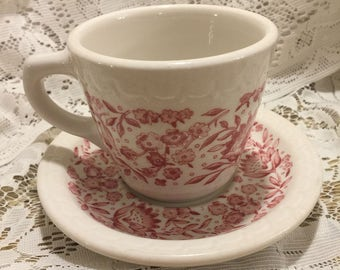 1950's Syracuse China Red & White Floral Coffee Cup and Saucer