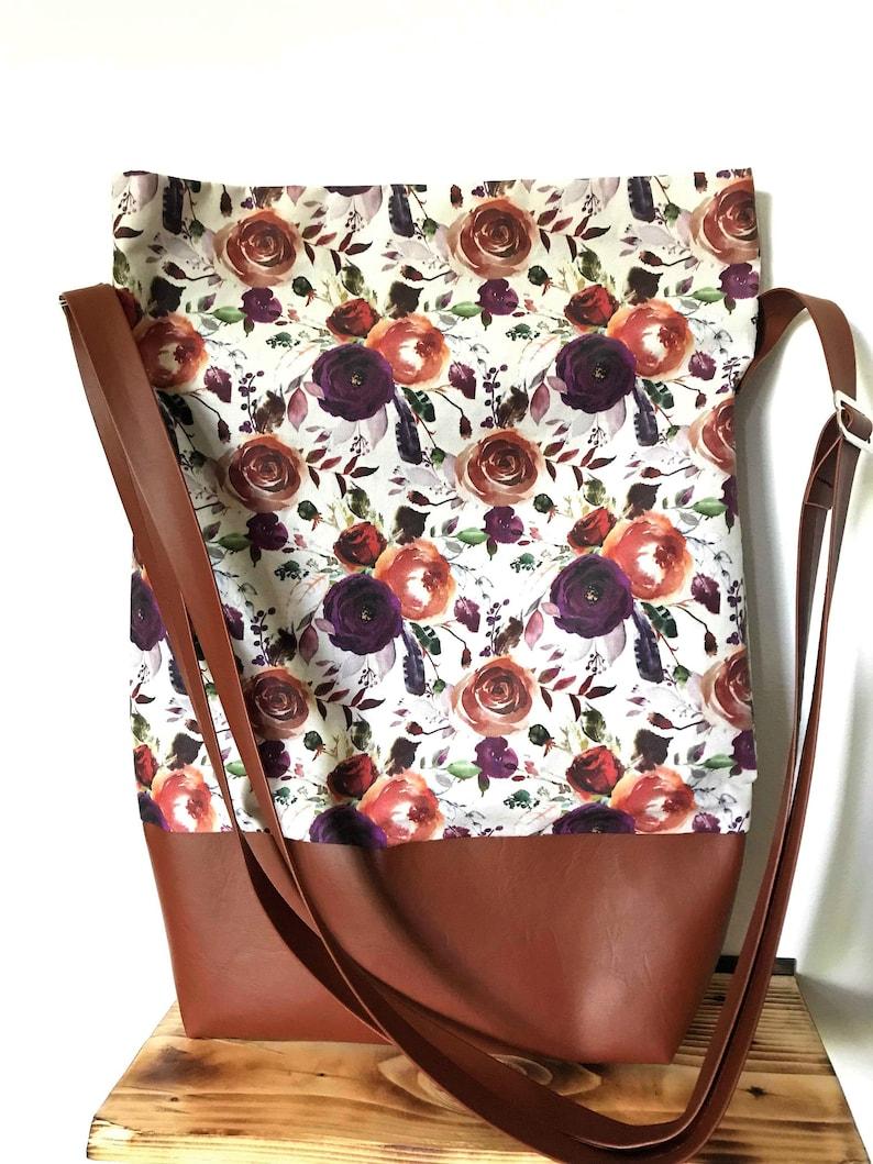 chic flowers plum handbag hand bag BOHO vegan crossbody bohemian floral vintage Flower purse bag