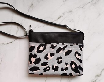 Leopard purse, Animal, vegan, faux leather, adjustable, hand bag, accessory for woman, purse, handbag, crossbody, flowers, print, classic