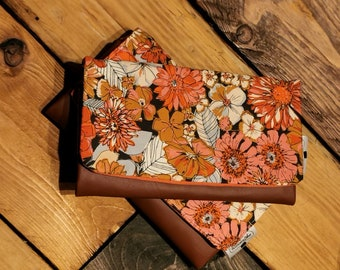 Flower wallet, wallet, card holder, cell holder, faux leather, flowers, chic, modern, purse, small, 12 card, money, woman, women