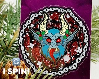 Spin ME! Krampus Spinning Snow Flurry Lapel Pin! Creepy Christmas Hard Enamel Pins