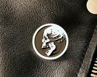 Macabre Skull Enamel Pin - White & Black