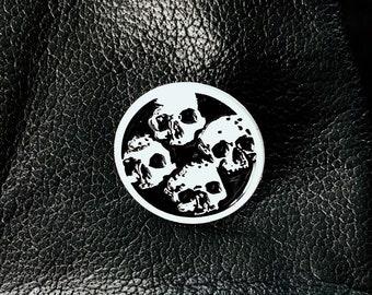 Catacombs Skull Lapel Pin - White & Black Enamel