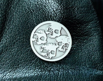 Catacombs Skull Lapel Pin - Antique Silver