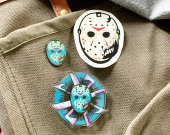 Pin SET + Sticker Including The FIRST Spinning Horror Lapel Pin! Camp Blood Massacre Hard Enamel Pins