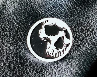 Skull Enamel Pin - Halloween Pin - White & Black