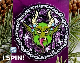 Spinning Krampus Lapel Pin! Creepy Christmas Hard Enamel Pins