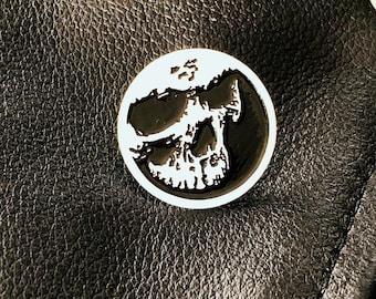 Skull Enamel Pin Gothic Jewelry - White & Black Enamel