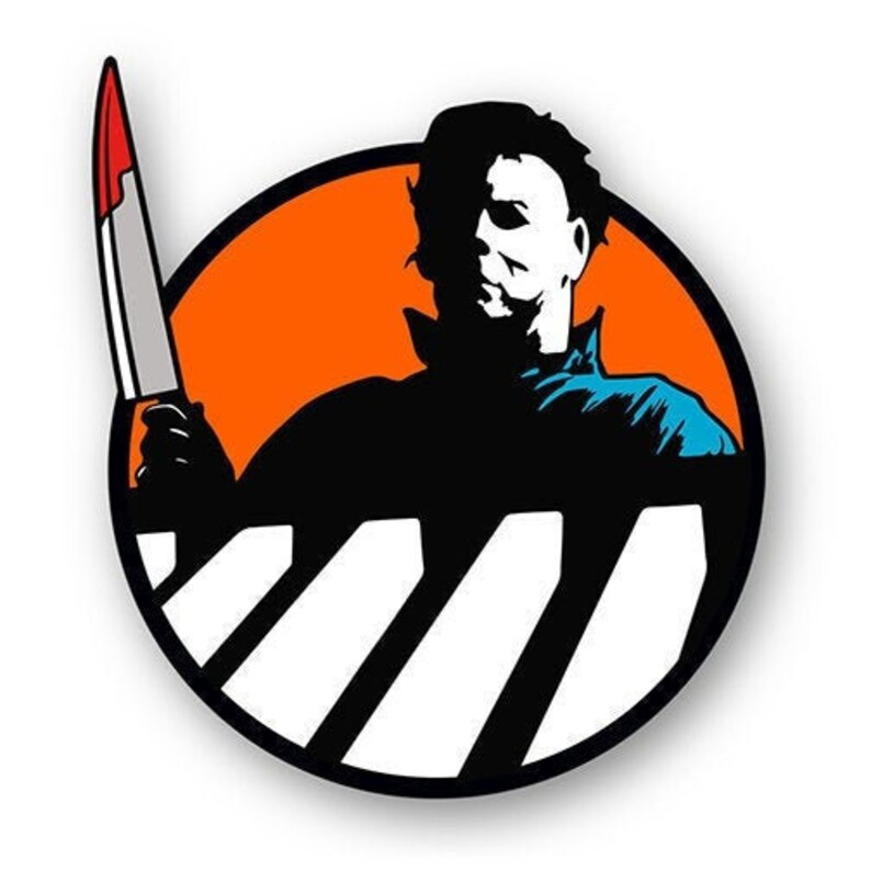 THE SHAPE  Halloween  Horror enamel pin  Orange image 0