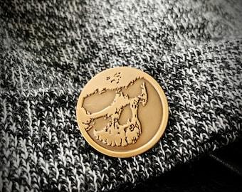 Skull Enamel Pin Gothic Jewelry - Antique Gold
