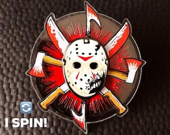Hack'n'Slash! Spinning Horror Lapel Pin! Camp Blood Massacre Hard Enamel Pins