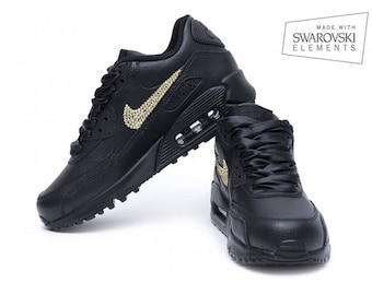 a07ca8de5c ... Nike Air Max 90 Black with Gold Swarovski ...