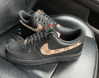 new concept 8677c 0925a Aangepaste Gucci Nike Air Force 1 zwart
