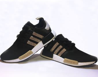 brand new 66860 1ae9a Women s Adidas NMD Black Runner Casual Shoes Customized with Gold Swarovski  Crystals