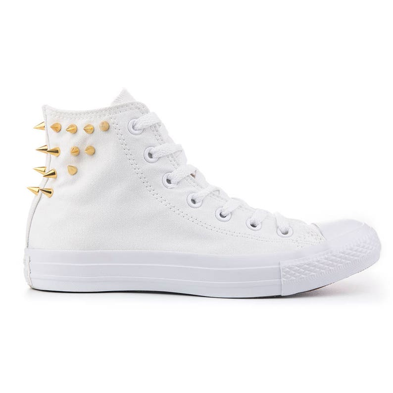 ef8fee916bd90c Mono White Converse High Top with Golden Spikes