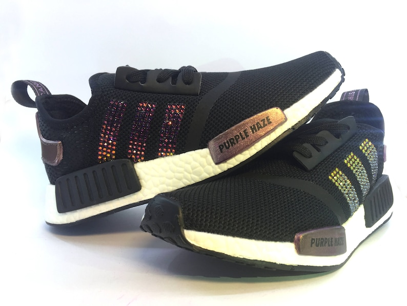 d4261e55f0d Women s Purple Haze Adidas NMD Black Runner Casual Shoes Customized with  Vul... Women s Purple Haze Adidas NMD Black Runner Casual Shoes Customized  with ...