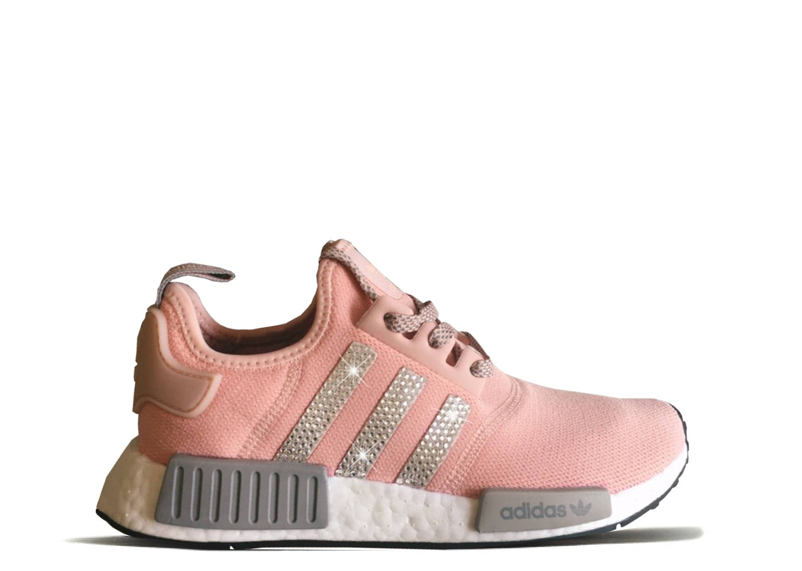 5d0f7a031 Women s Pink Adidas NMD R1 with Silver Swarovski Crystals