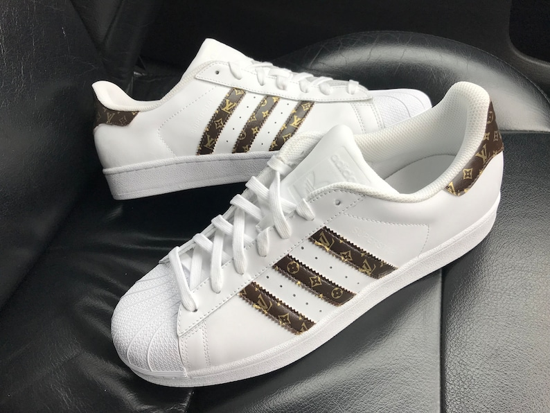 f97b11abc976 Custom 18ct Gold Brown Louis Vuitton Adidas Superstar Sneakers