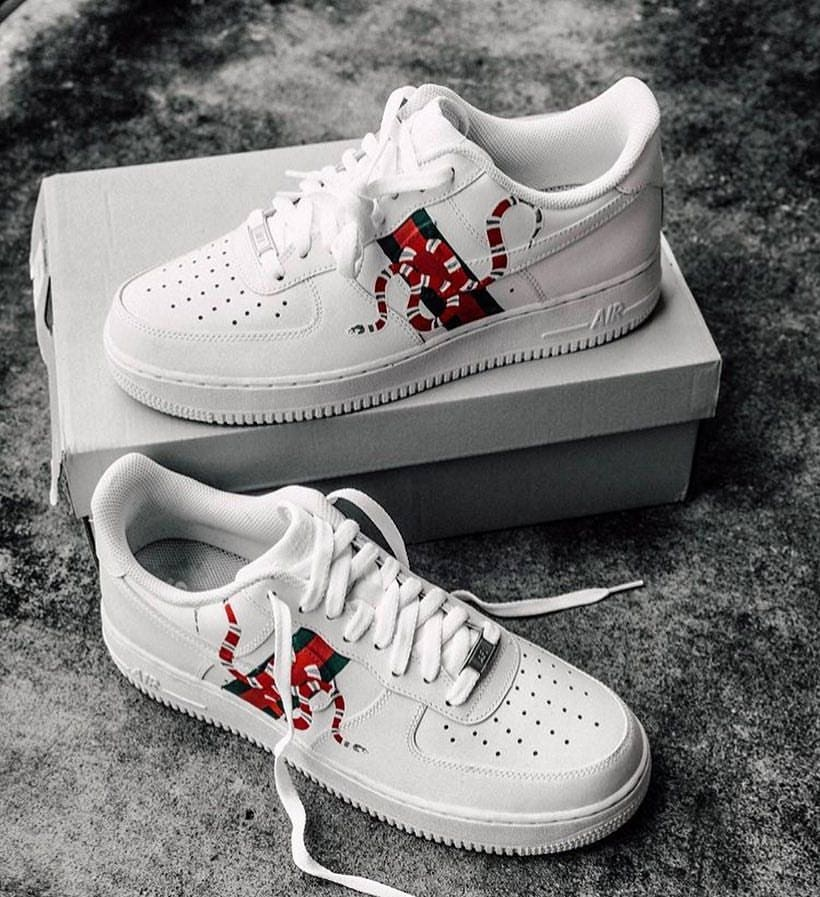 best service 1382d a7a59 Custom Gucci Snake Nike Air Force 1  Etsy