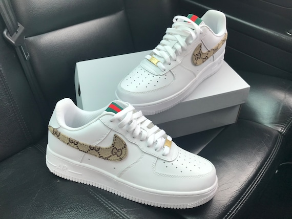 custom gucci nike air force 1 etsy. Black Bedroom Furniture Sets. Home Design Ideas