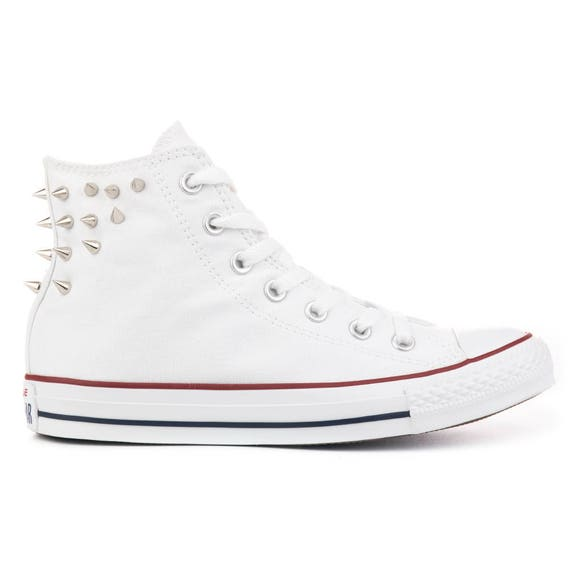 32ec6266897507 White Converse High Top with Spikes