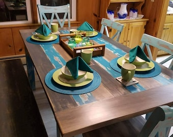 Blues and Grays Painted/Distressed/Stained Farm Table Set