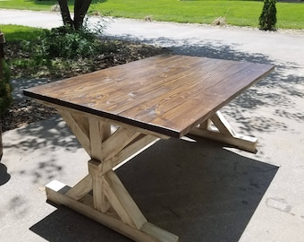 Antiqued Trestle Farm Table