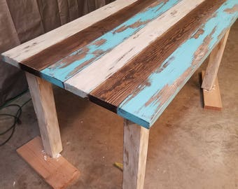 Antiqued/Painted/Distressed Turquoise Table