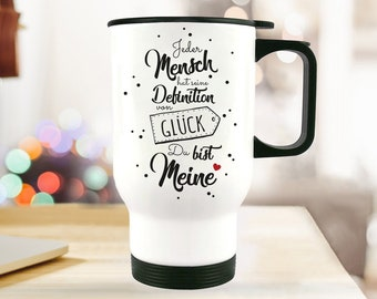 Thermo Cup to go mug saying love luck tb96