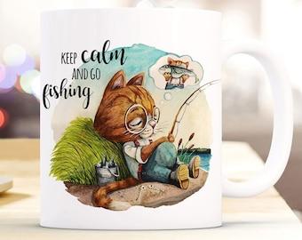 Tasse Becher Katze Kätzchen Papas Kleine Anglerin Kaffeetasse Geschenk Ts960 Kindergeschirr & -besteck