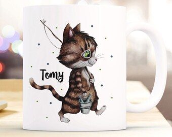 Kindergeschirr & -besteck Tasse Becher Katze Kater Kleiner Angler Träumen Kaffeetasse Geschenk Ts961