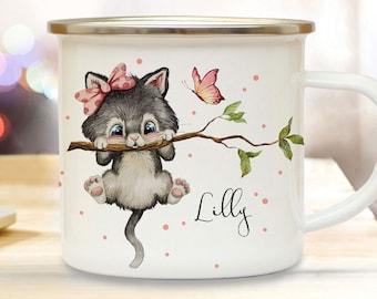Enamel mug camping cup motif cat kitten on branch & wish name name name coffee cup gift kids children's mug eb495