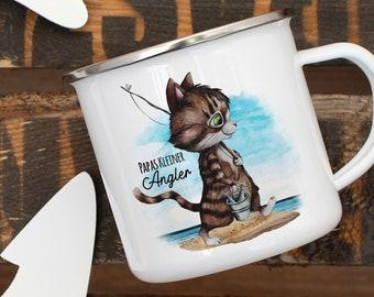 Trinklerntassen & -becher Tasse Becher Katze Kätzchen Papas Kleine Anglerin Kaffeetasse Geschenk Ts960 Büro & Schreibwaren