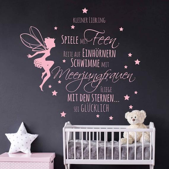 Wandtattoo Babyzimmer Spruch Elfe Fee Sterne M2014