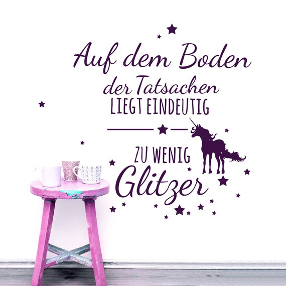 Wall Decal Quote Unicorn Glitter M1977 Etsy