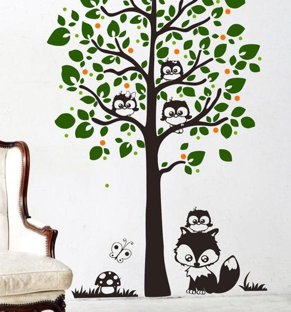 Wandtattoo Baum Mit Eulen Eulenbaum Eule Xxl M1346 Etsy