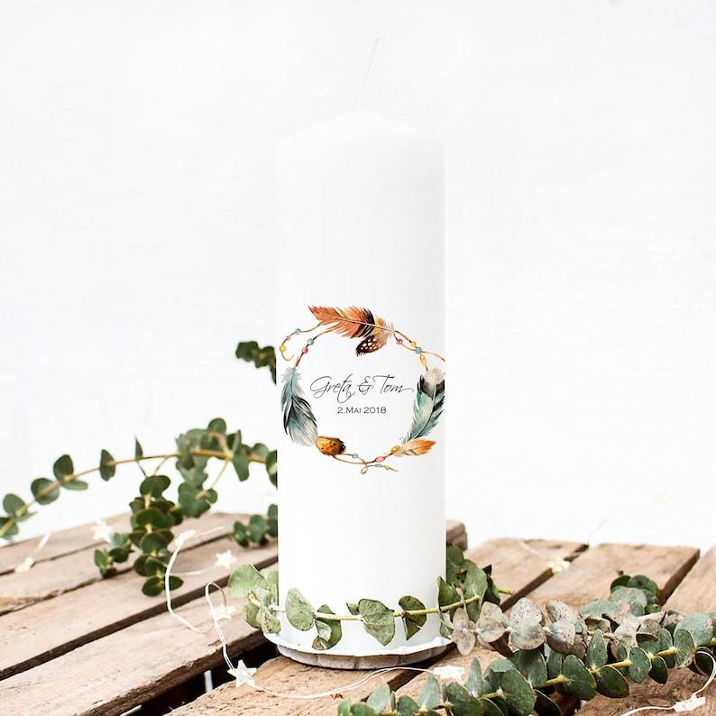 Hochzeitskerze mit Federn
