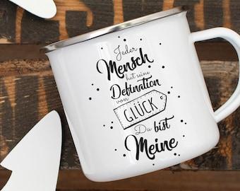 Enamel cup Mug coffee cup love luck eb01