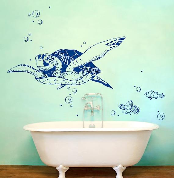 Wandtattoo Schildkröte Fische Wanddeko Bad M1533 | Etsy