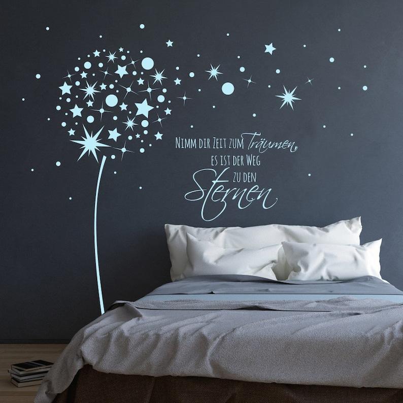 Wandtattoo Pusteblume Sterne mit Spruch M2055