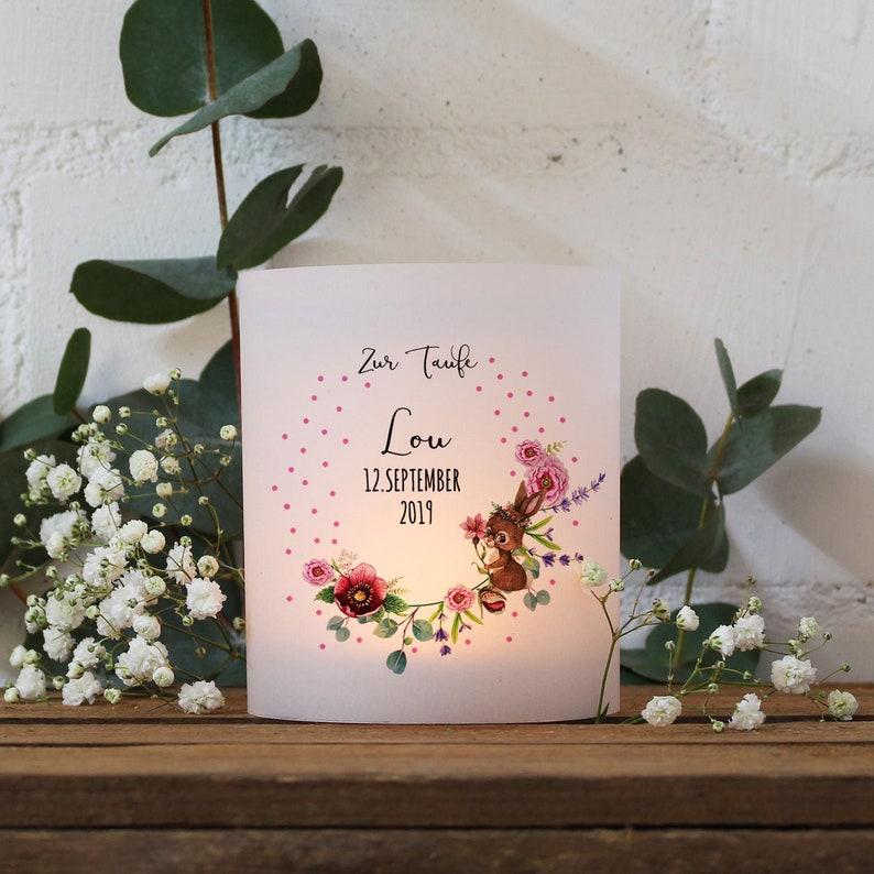 ilka parey wandtattoo-welt Taufkerze Kerze zur Taufe oder Geburt Kommunionkerze Blumenkranz Rosen Spruch Wunschname /& Datum wk114