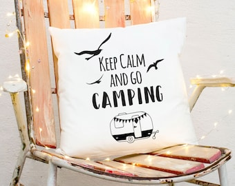 Pillow m. Filling camping Caravan & saying ks172