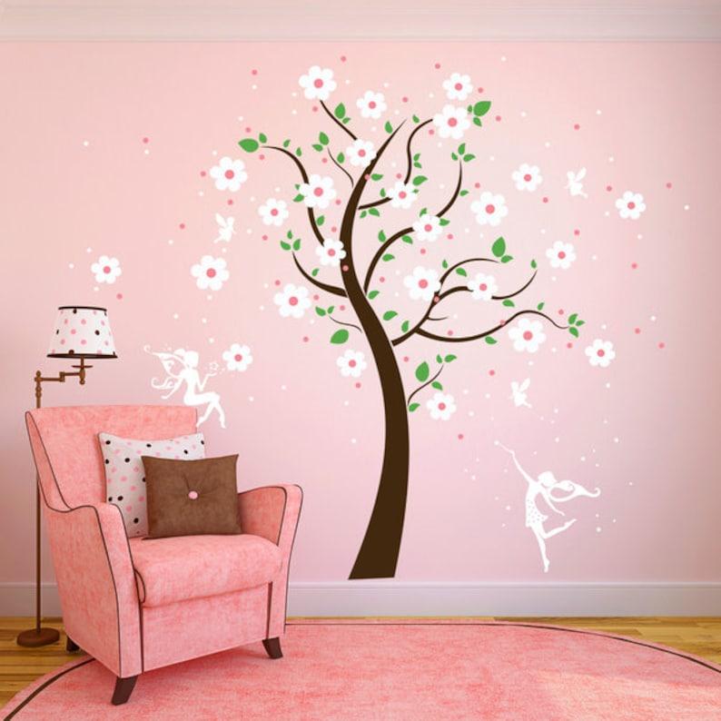 Wall Decals tree m Elves Fairy Flower Stars M1164