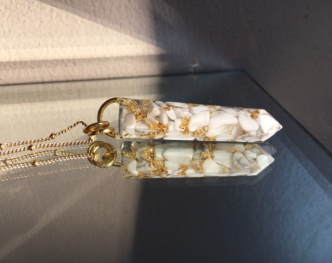 White Howlite & Gold Leaf Crystal Point Pendant - Orgone Amulet - Long Gold Chain - Wooden Jewelry Box Included
