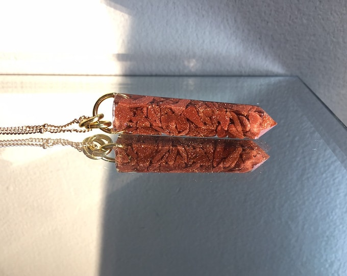 Goldstone Crystal Point Pendant Necklace - Long Gold Chain - Wooden Jewelry Box Included