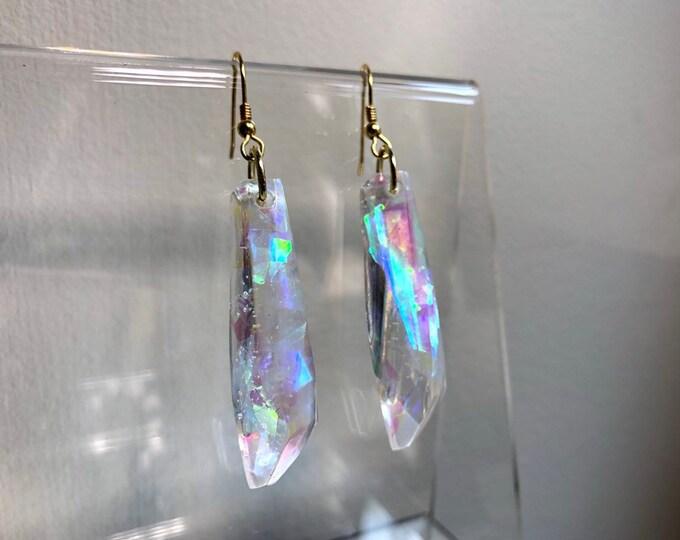 Angel Aura Glitter Gem Crystal Earrings 2 - Gold Backing