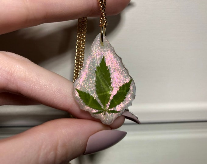 Weed Leaf Red Tinted Opal Dust Prism Crystal Pendant - Long Gold Chain - Wooden Jewelry Box Included