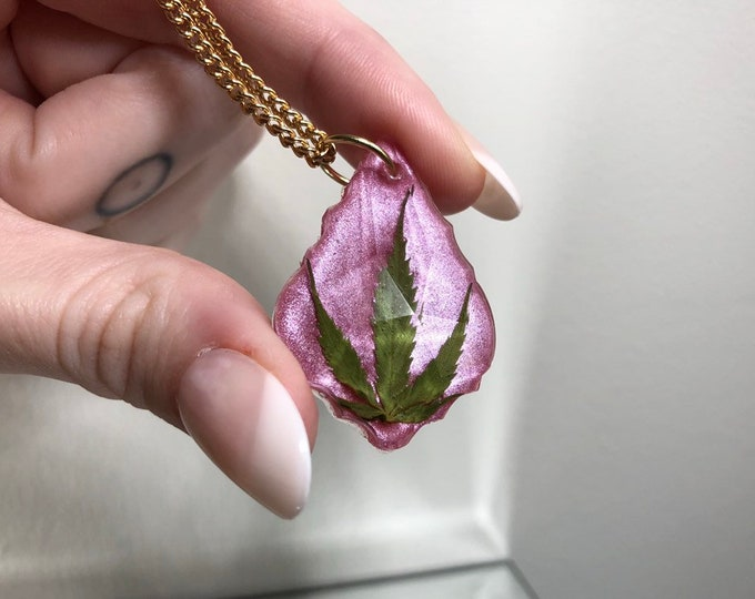 Weed Leaf Pink Opal Dust Prism Crystal Pendant - Long Gold Chain - Wooden Jewelry Box Included